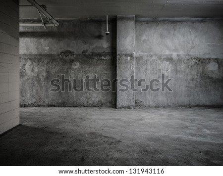 Empty wall concrete room interior - stock photo