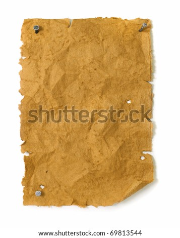 Empty wanted poster wild west style with nails, torn edges and bullet holes - stock photo