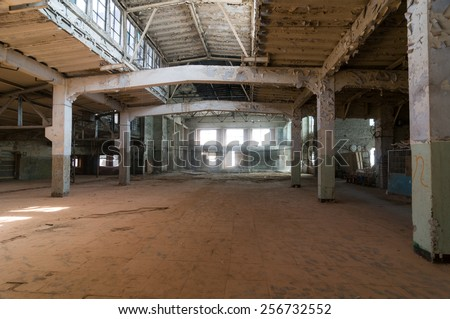 Empty warehouse office or commercial area, industrial background - stock photo