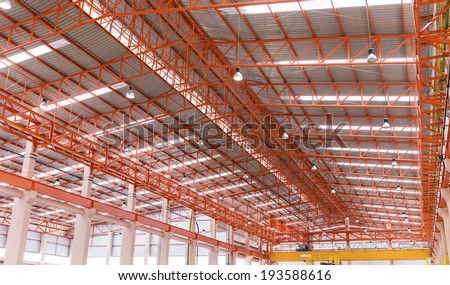 Empty warehouse with metal roof  - stock photo