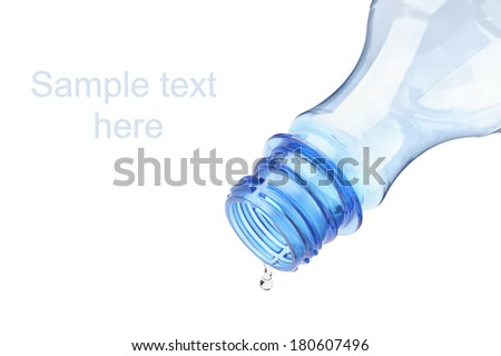 Empty water bottle on white background. - stock photo
