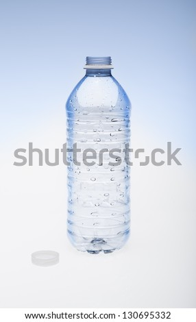 Empty water bottle with cap to the side. - stock photo