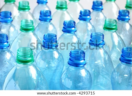 Empty water bottles - stock photo