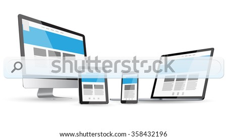 Empty web bar in front of modern digital devices