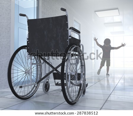 Empty wheelchair parked in hospital hallway with child figure hope concept background