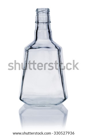 Empty Whiskey Bottle on White Background