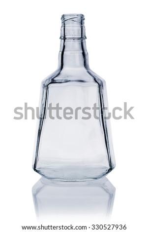 Empty Whiskey Bottle on White Background - stock photo