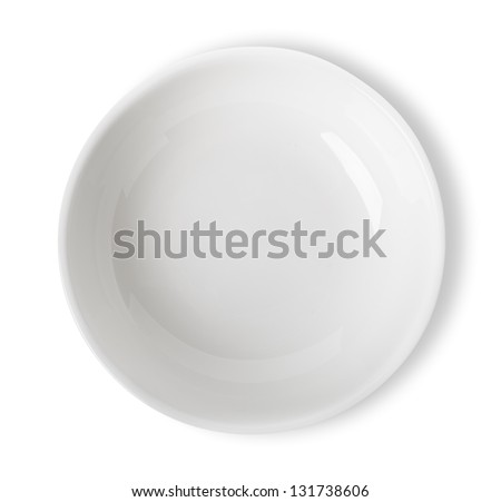 Empty white bowl isolated on white background. Clippin Path