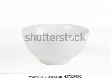 Empty white bowl with clipping path - stock photo