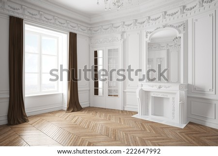 Empty white bright room with stucco in an old villa with fireplace - stock photo