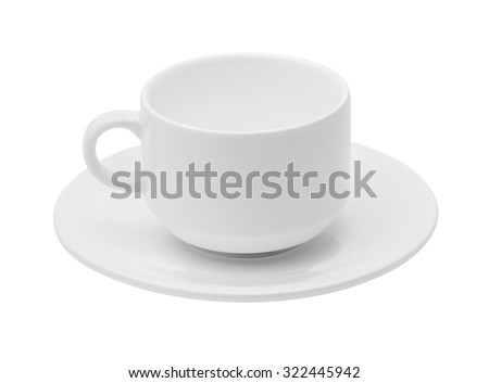 Empty white ceramic coffee or tea cup and saucer isolated on a white background close-up, crockery, cutlery - stock photo