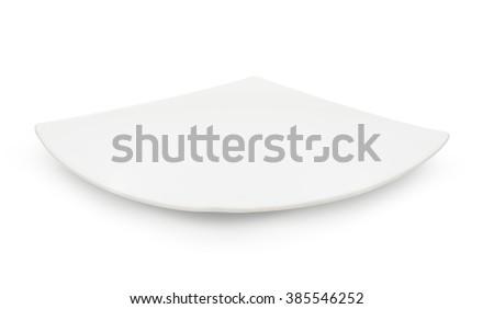 Empty white ceramic dish on over white background, rectangle dish - stock photo