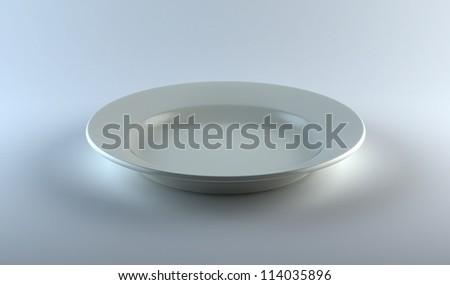 empty white ceramics plate on table on studio white background - stock photo