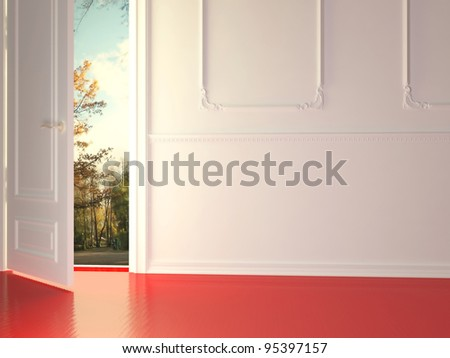 Empty, white, classic room with opened door and beautiful view to the park, 3d render. - stock photo