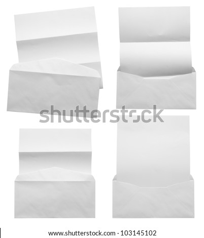 Empty white Crumpled paper with blank envelope (Save Paths) for design work - stock photo
