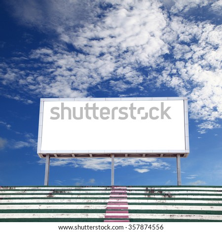 Empty white digital billboard screen for advertising in stadium , with clipping path
