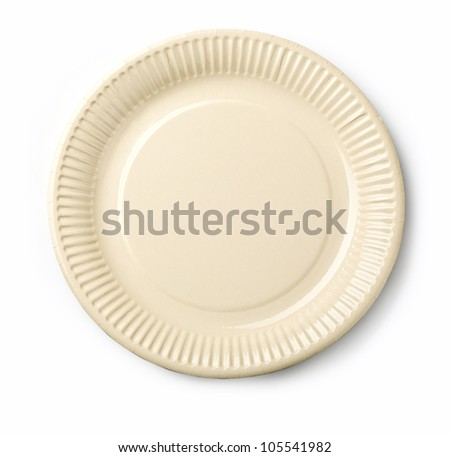 Empty white dish isolated on white background - stock photo