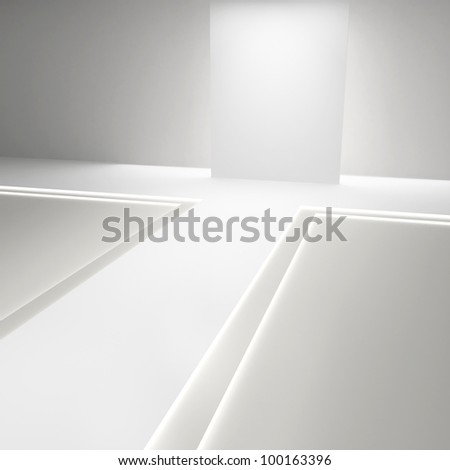 Empty white hall with a podium for fashion display - stock photo
