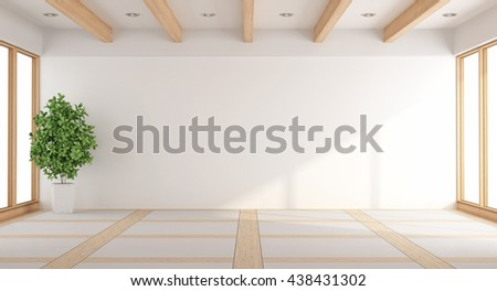 Empty white living room with windows and wooden beams - 3d rendering - stock photo