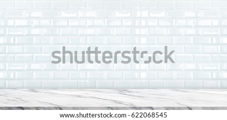 white marble table top. Empty White Marble Table Top With Ceramic Tile Wall Background,Mock Up Banner Ads K