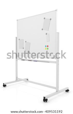 Empty white marker board. Blank Whiteboard. 3d render - stock photo