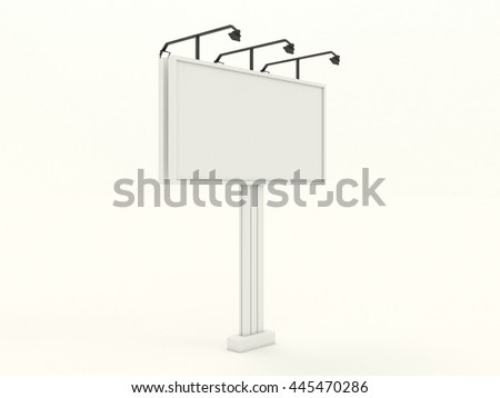 Empty white metal billboard mock up with blank for branding design and advertising. Advertising construction with black lamps spotlights. Isolated on white background. High resolution 3d illustration. - stock photo