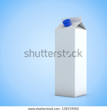 Empty white milk carton package in front of blue background - stock photo