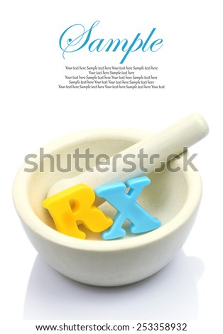 Empty white mortar and pestle with colorful letters RX isolated - stock photo