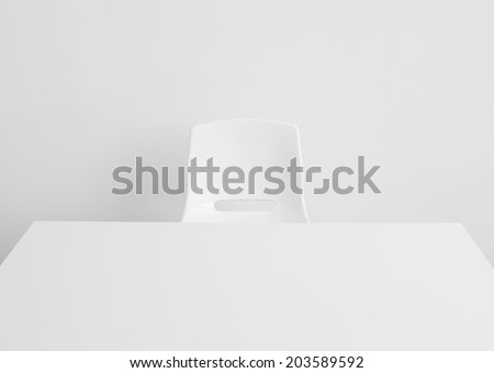 Empty white office desk - stock photo