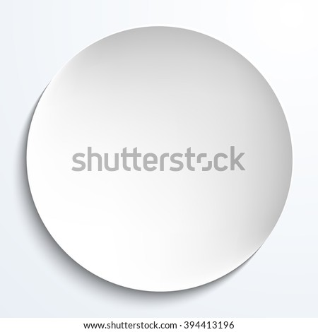Empty white paper plate. round plate Illustration on white background. Plate background for your design. - stock photo