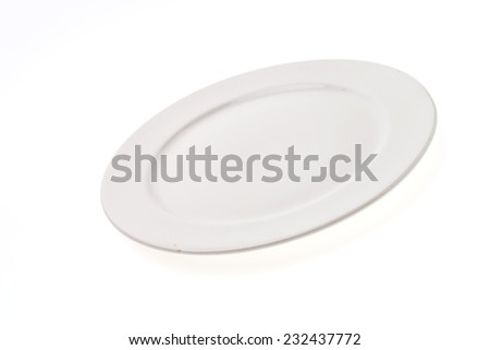 Empty white plate dishware isolated on white background