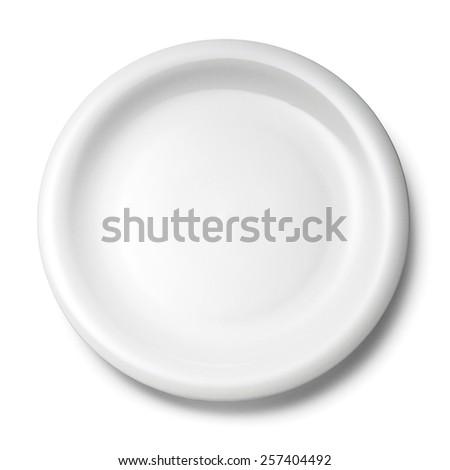empty white plate.isolated on white background. - stock photo