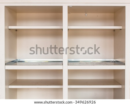 Empty White Rack Shoes And Slipper Background