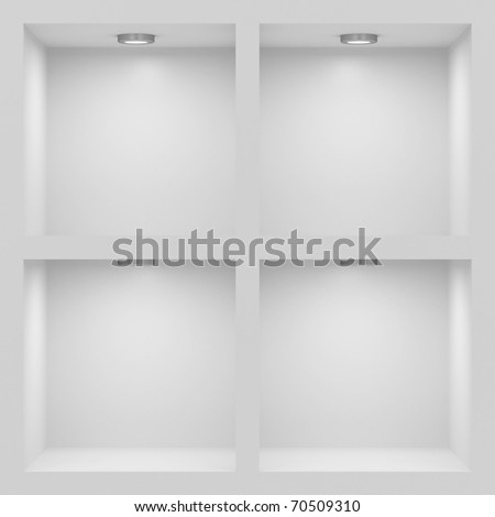 Empty white rack with illumination of shelves - stock photo
