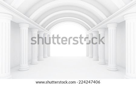 Empty White Room - 3d Perspective illustration - stock photo