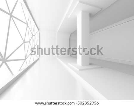 Empty White Room Interior With Window. Architecture Background. 3d Render Illustration