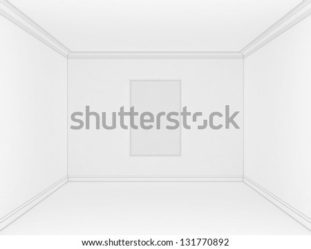 empty white room with a gray frame for a picture