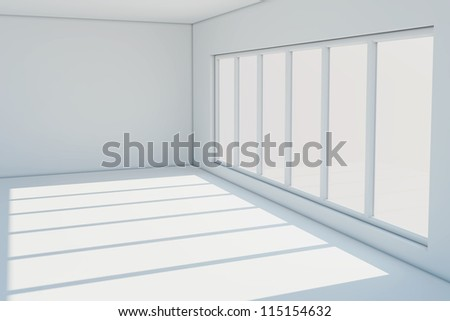 Empty white room with a large window