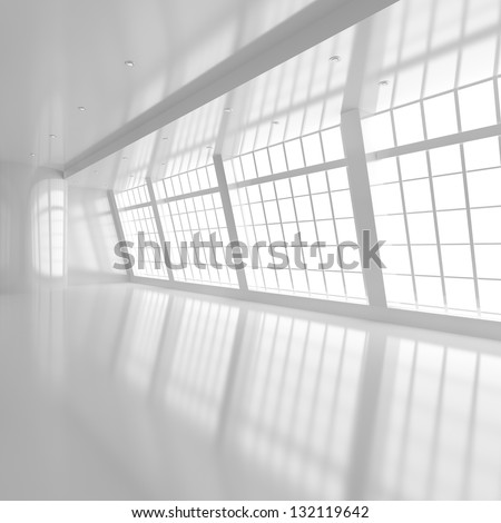 Empty White Room with Big Windows - 3d illustration - stock photo