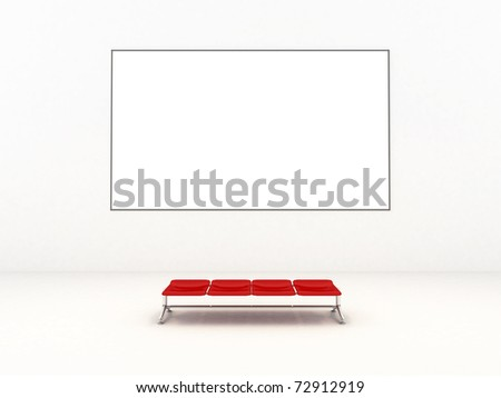 Empty white room with empty frame and red bench - realistic 3d render - stock photo