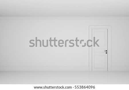 Empty white room with one door, 3d illustration.