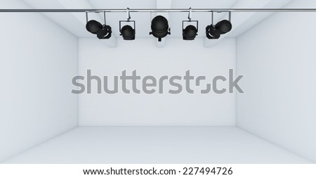 Empty White Room with spotlight- 3d Perspective - stock photo