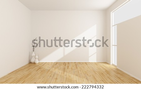 Empty white room with wooden floor and window-3D rendering - stock photo