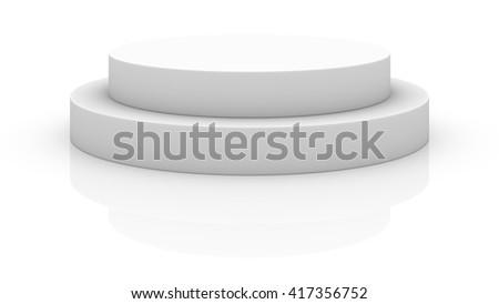 Empty white round podium isolated on white background - stock photo