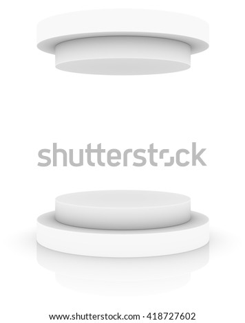 Empty white round podium with cap, isolated on white background. 3D rendering