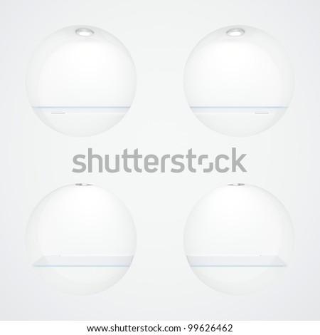 Empty white round rack with illumination of shelves - stock photo
