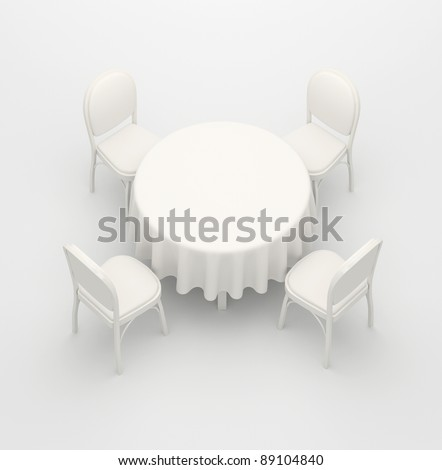 Empty, white round table, cloth and four chairs on a white background - stock photo