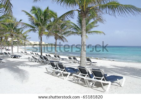 Empty white sand beach, ocean and palm trees in Mexico, Riviera Maya