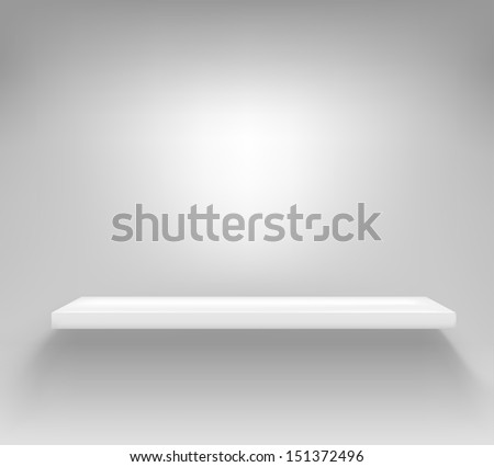 Empty white shelf hanging on a wall