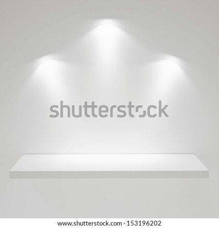 Empty White  Shelf on the White Wall, Exhibit, Render